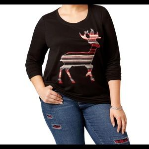 Style & company Holiday reindeer Top